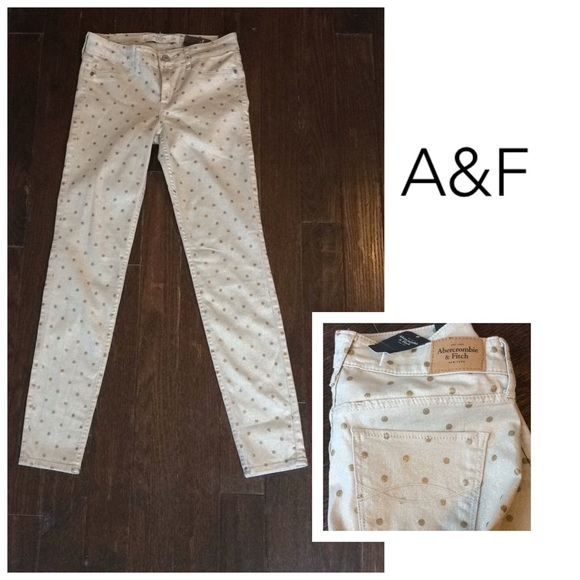 Abercrombie & Fitch Denim - Abercrombie & Fitch Gold polka dot jegging jeans